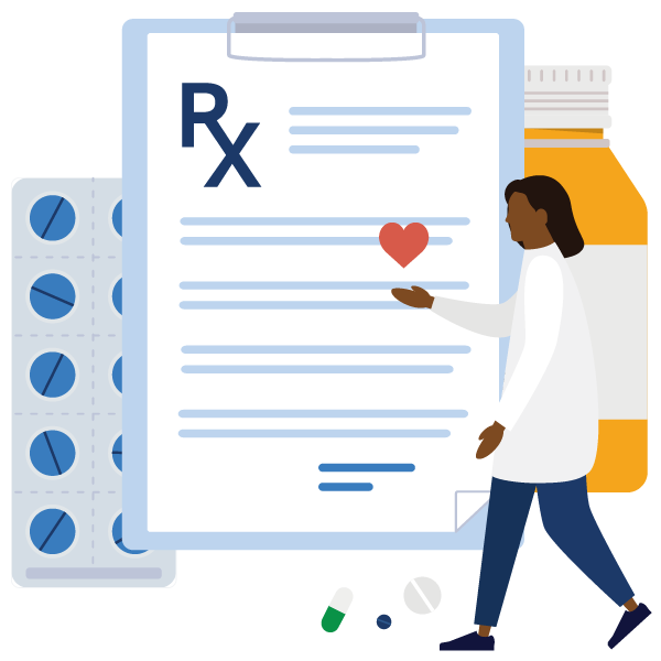 Alphascript specialty pharmacy homepage medication illustration.
